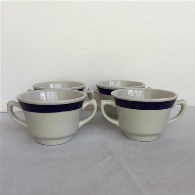 White & Blue Bouillon Soup Bowls - Set of 4 For Sale - Image 10 of 11
