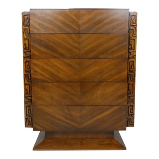 Tiki Brutalist Mid Century Highboy by United, Sculptural - Paul Evans Style For Sale