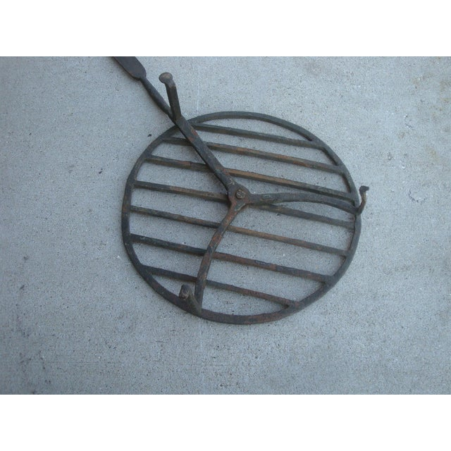 "Mid 19th Century 24"" Antique Fireplace Hearth Forged Iron Trivet For Sale - Image 5 of 8"