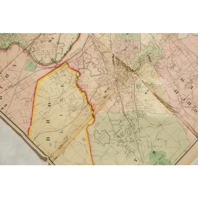 Late 19th Century Antique Folding Map of City of Boston and Its Environs 1874 For Sale - Image 5 of 11