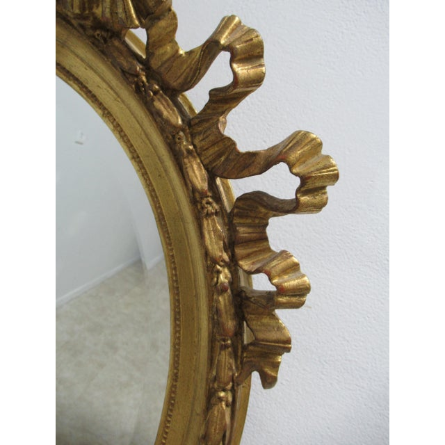 Gold Vintage French Regency Gold Gilt Oval Hanging Wall Mirror For Sale - Image 8 of 13