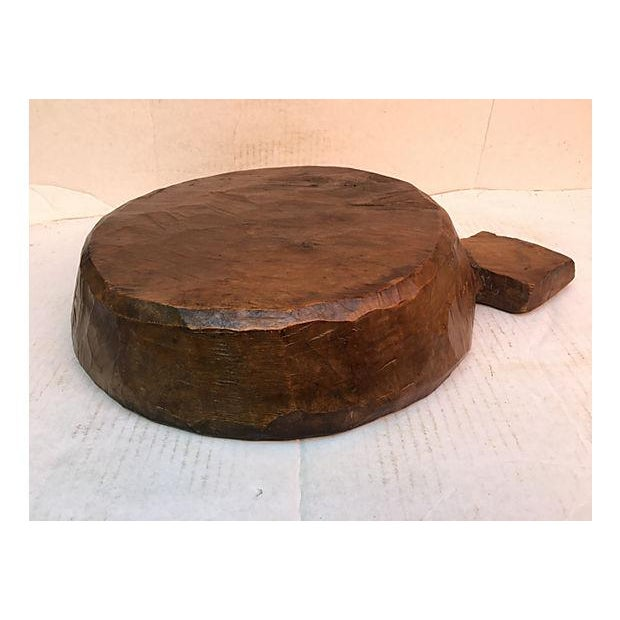 Farm House Rustic Wooden Dough Bowl For Sale In Los Angeles - Image 6 of 6
