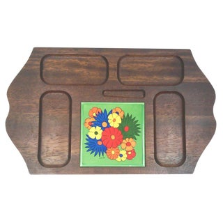 Mid Century Carved Hardwood Tile Tray For Sale