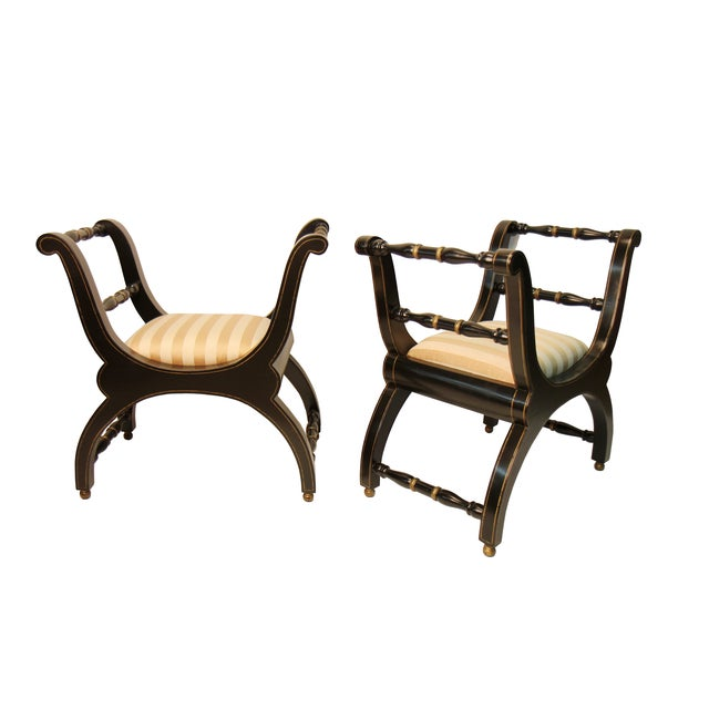 Italian Black & Gold Benches - A Pair - Image 1 of 4