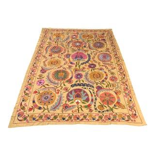1990s Handmade Silk Tablecloth For Sale