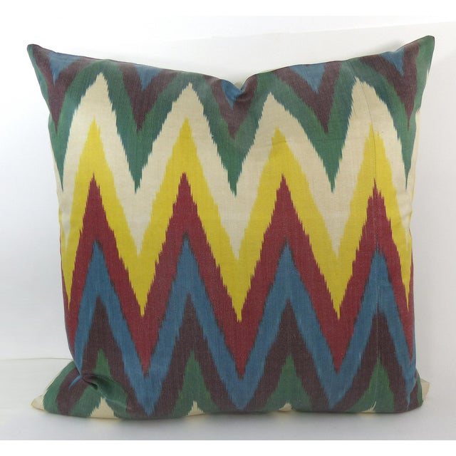 Colorful Woven Silk Ikat Pillow - Image 2 of 6