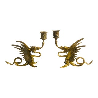 Vintage Chinoiserie Brass Winged Dragon Candleholders- A Pair For Sale