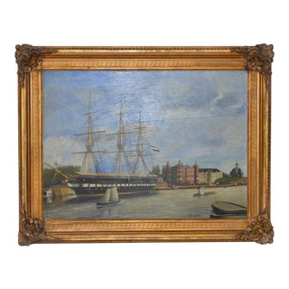 "19th Century ""Dutch Trading Vessel"" Oil on Panel"
