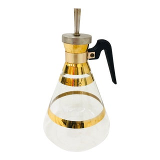 Vintage Gold Rimmed Glass Carafe For Sale