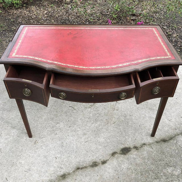 Writing Table, Edwardian Period English in Mahogany With Leather Top For Sale In Baton Rouge - Image 6 of 12