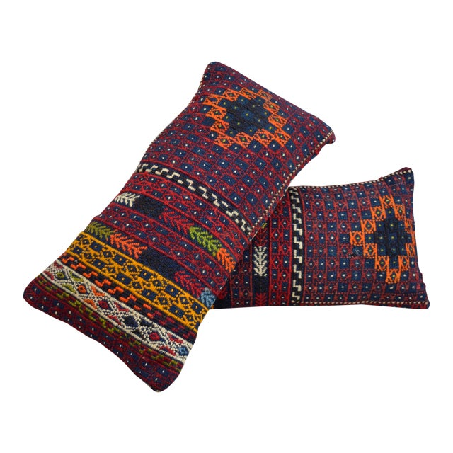 "A Pair Vintage Turkish Kilim Lumbar Pillow Covers - 13"" X 24"" For Sale"