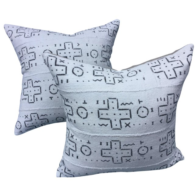 African Tribal Mud Cloth Pillows - A Pair - Image 1 of 6