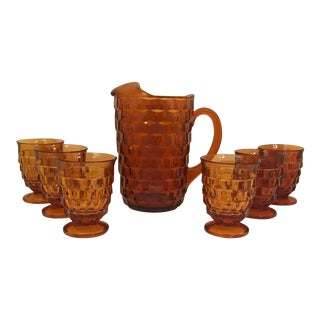 1970s Vintage Fostoria Amber Glass Pitcher & Tumblers - Set of 7 For Sale
