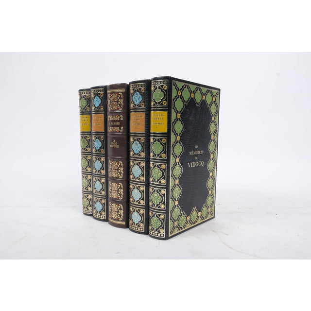Set of French Leather Bound Books S/5 For Sale - Image 4 of 6