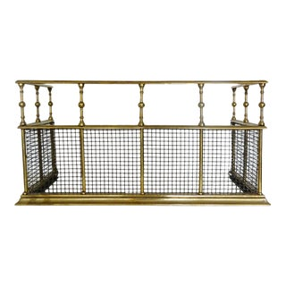 19th Century French Polished Brass Mesh Fire Fender For Sale