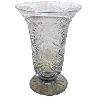 20th Century Art Deco Etched Carved Glass Vase With Ornamental Motifs For Sale