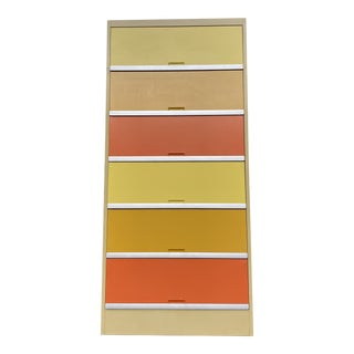Vintage Mid Century Orange and Yellow Steel Tab Office Cabinets For Sale