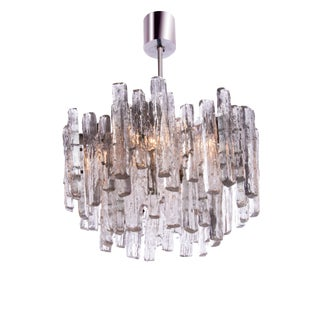 1960s Mid-Century Austria Kalmar Frosted Glass Chandelier For Sale