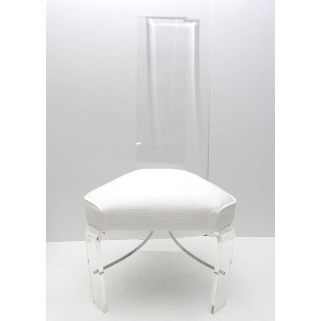 Lucite & Chrome Dining Chairs With White Upholstery - Set of 6 For Sale - Image 5 of 9