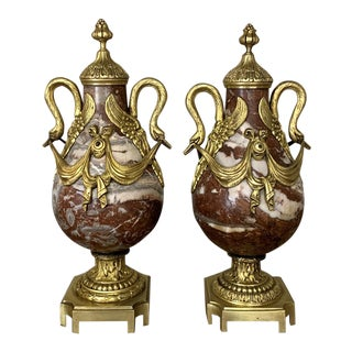 19th Century Marble & Bronze Cassolettes - a Pair For Sale