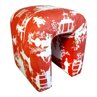Mid-Century Small Single Seat Waterfall Bench Stool in Vintage Red Reverse Toile Chinoiserie Linen For Sale
