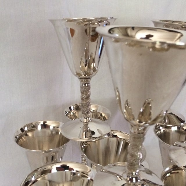 12 Vintage Silver Plated Rogers Rope Twist Wine Goblet made in Yugoslavia - Image 11 of 11