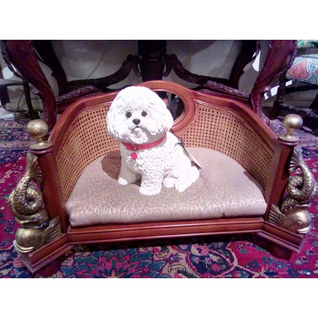 Wicker 1960s Traditional Caning Wicker Dog Bed With Cushion For Sale - Image 7 of 8