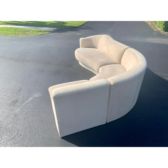 Ivory Vladimir Kagan for Weiman 3pc Scroll Back Sectional Sofa For Sale - Image 8 of 13