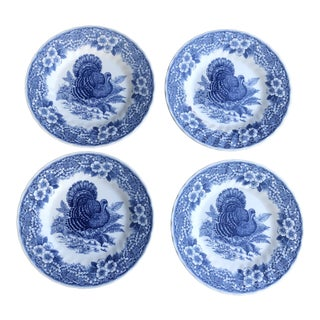 Blue and White Transferware Thanksgiving Turkey Side Plates - Set of 4 For Sale