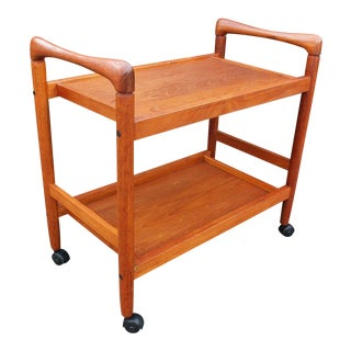 20th Century Danish Modern Teak Bar Serving Cart For Sale