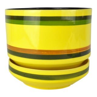 Midcentury Striped Yellow Planter & Base For Sale
