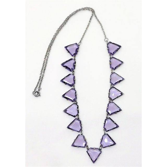 Art Deco Art Deco Triangular Faceted Purple Glass Necklace For Sale - Image 3 of 6