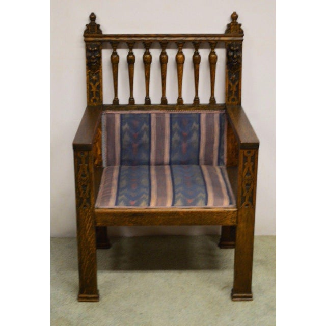 Antique Wind Man Carved Oak Library Armchair - Image 11 of 11