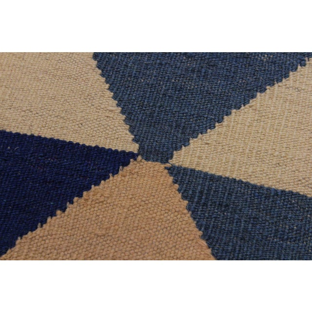 Retro Kilim Blue Hand-Woven Wool Rug - 6′4″ × 8′9″ For Sale - Image 4 of 8
