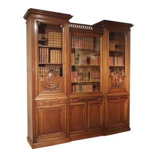 Antique Walnut Wood Louis XVI Style Bibliotheque From France, Circa 1880 For Sale