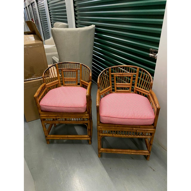 1970s Vintage Bamboo & Cane Chairs With Cushions - a Pair For Sale - Image 10 of 10