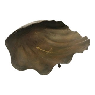 Large Italian Brass Clam Shell Bowl For Sale