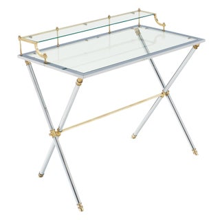 Glass Brass and Chrome French Writing Table For Sale