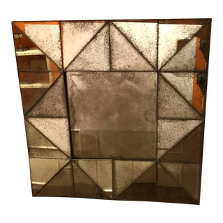 Contemporary Mirror in Antiqued Glass For Sale