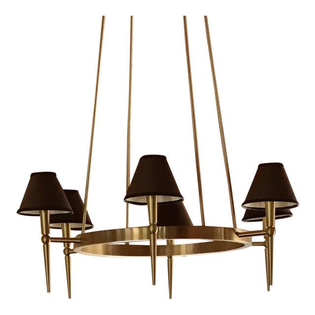 Boyd Lighting Brushed Brass Modern Wagon Wheel 6 Light Chandelier For Sale