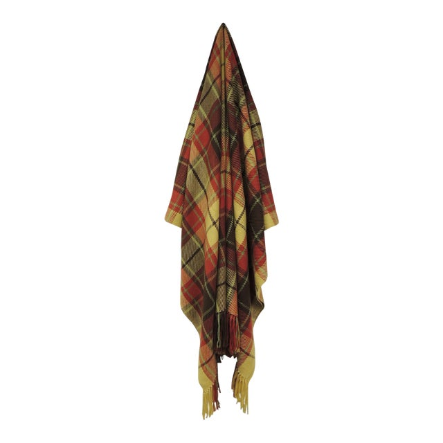 Large Yellow and Red Plaid Throw With Hand-Knotted Fringes For Sale