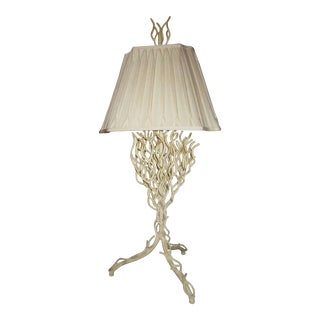 Wrought Iron White Coral Table Lamp For Sale