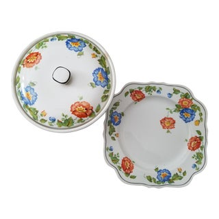 1930 Harker Jewel Weed Columbia Biscuit Jar & Plate - a Pair For Sale