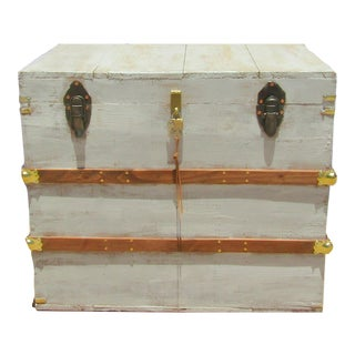 Rustic Storage Chest in Whitewashed Finish For Sale