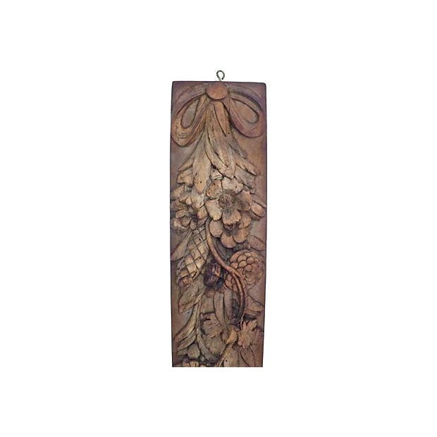 Antique French Carved Floral Wall Plaque - Image 2 of 2