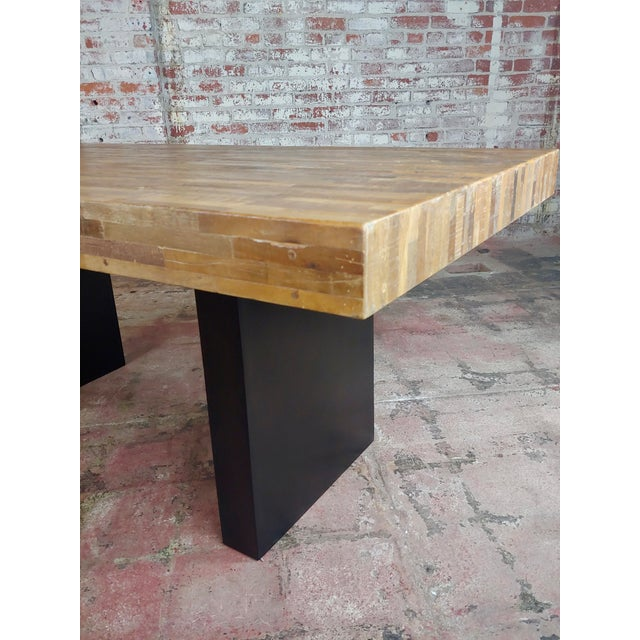 Wood Vintage Butcher Block Style Dining Table W/Ebonized Base For Sale - Image 7 of 10