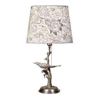 Silver Plate Table Lamp With Bird in Tree For Sale