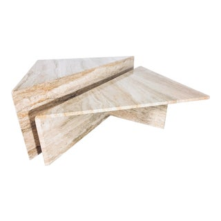 1970s Italian Travertine Coffee Table - 2 Pieces For Sale