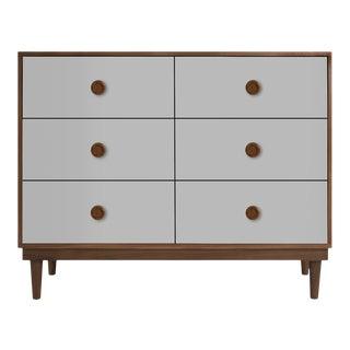 Nico & Yeye Lukka Modern Kids 6 Drawer Dresser Walnut Gray For Sale