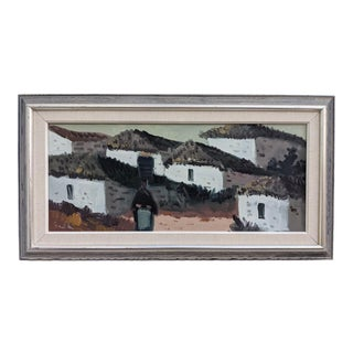 Mid 20th Century Expressionist Spanish Town Scene Oil Painting, Framed For Sale